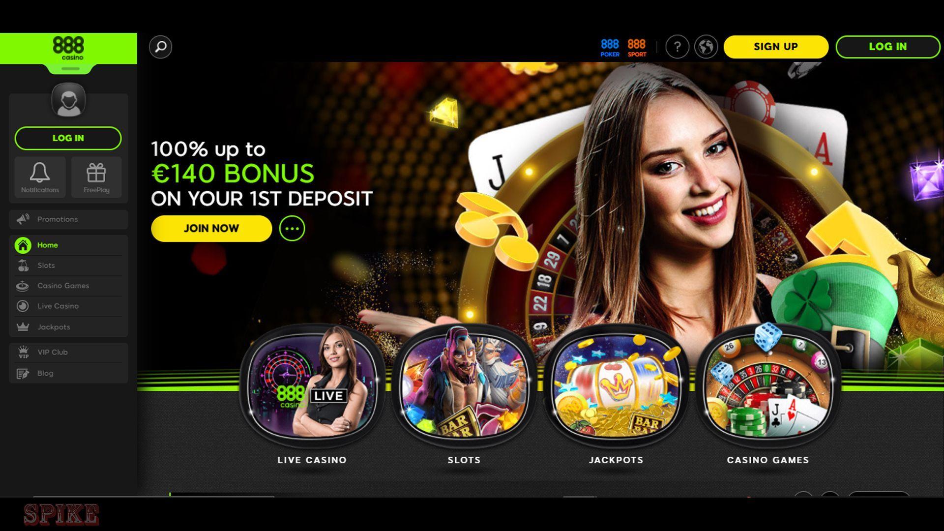 888 Casino Homepage Screen