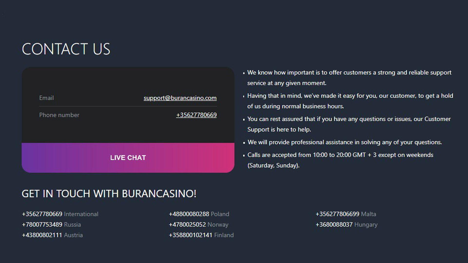 Buran Casino Contacts Page Shot