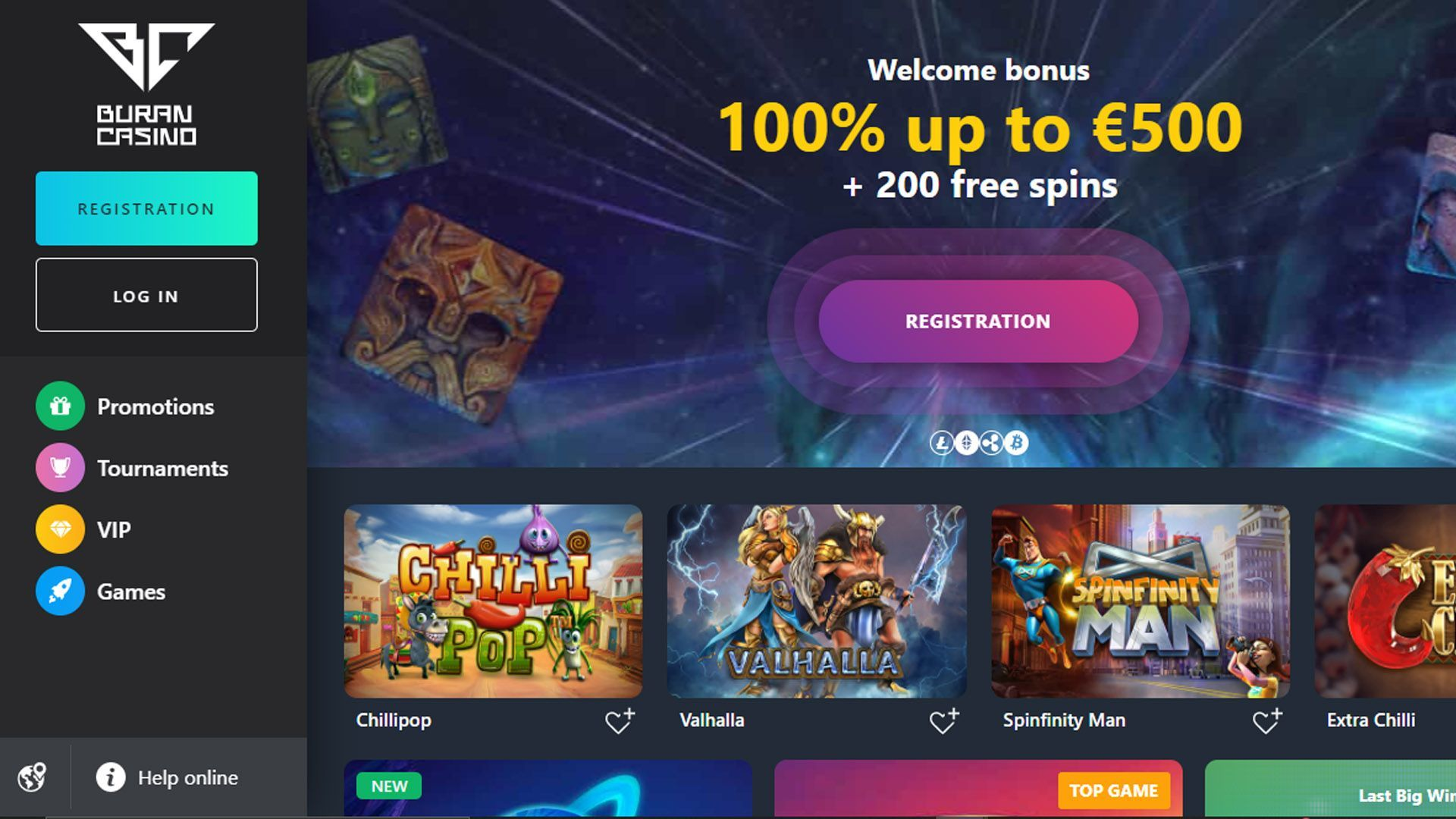 Buran Casino Homepage Shot