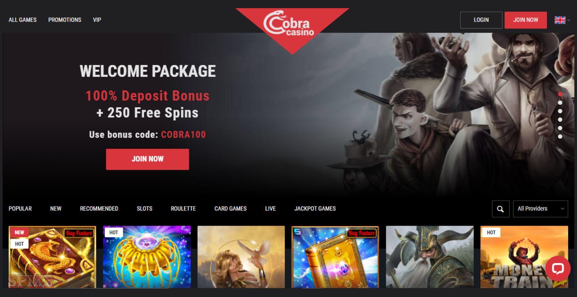 Cobra Casino Homepage Screen