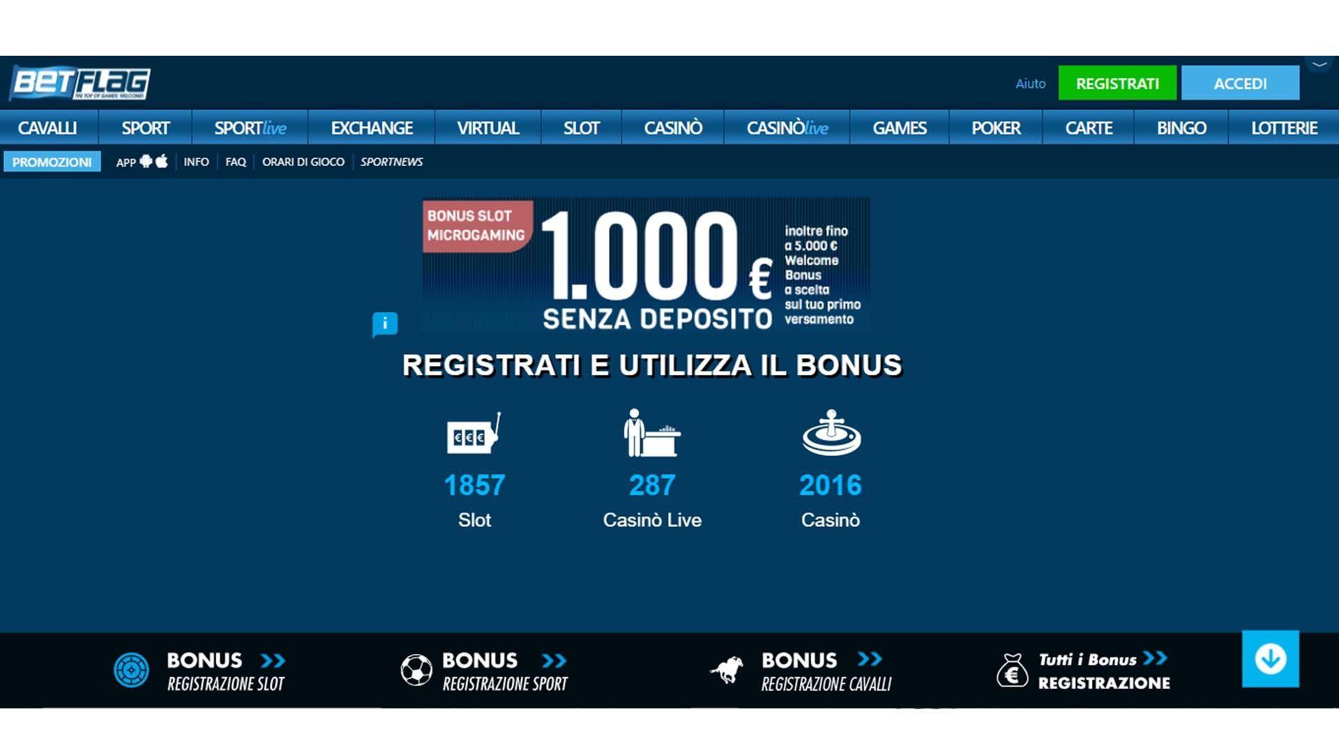 BetFlag Casino Online HomePage Shot