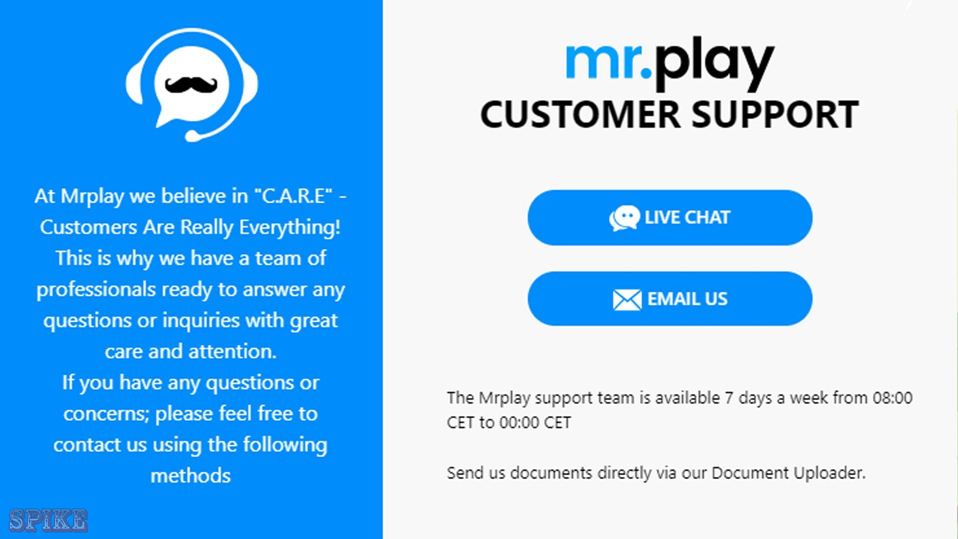 mr.play Casino Contacts Screen