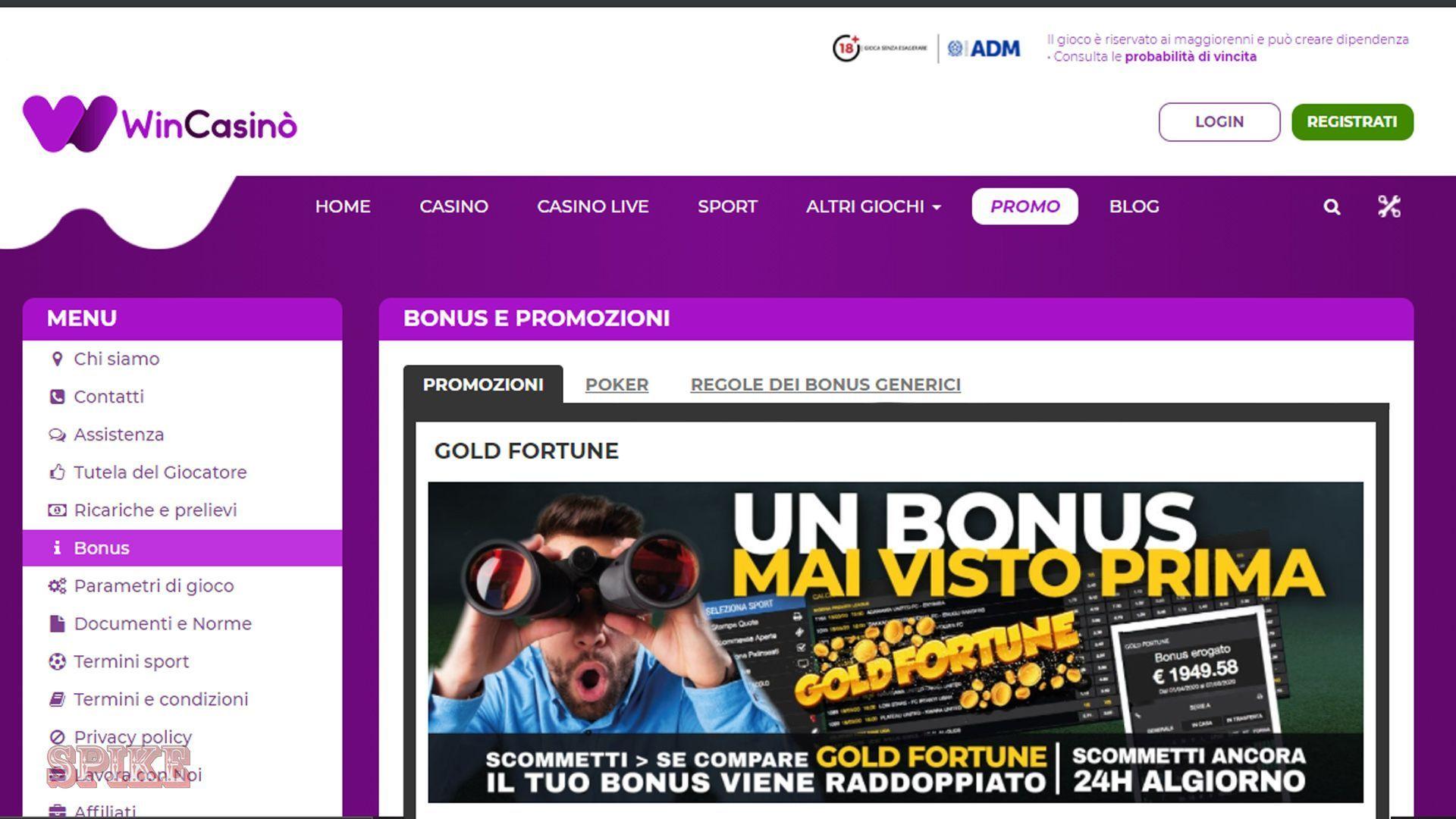 WinCasino Pagina Promozioni Bonus Screen